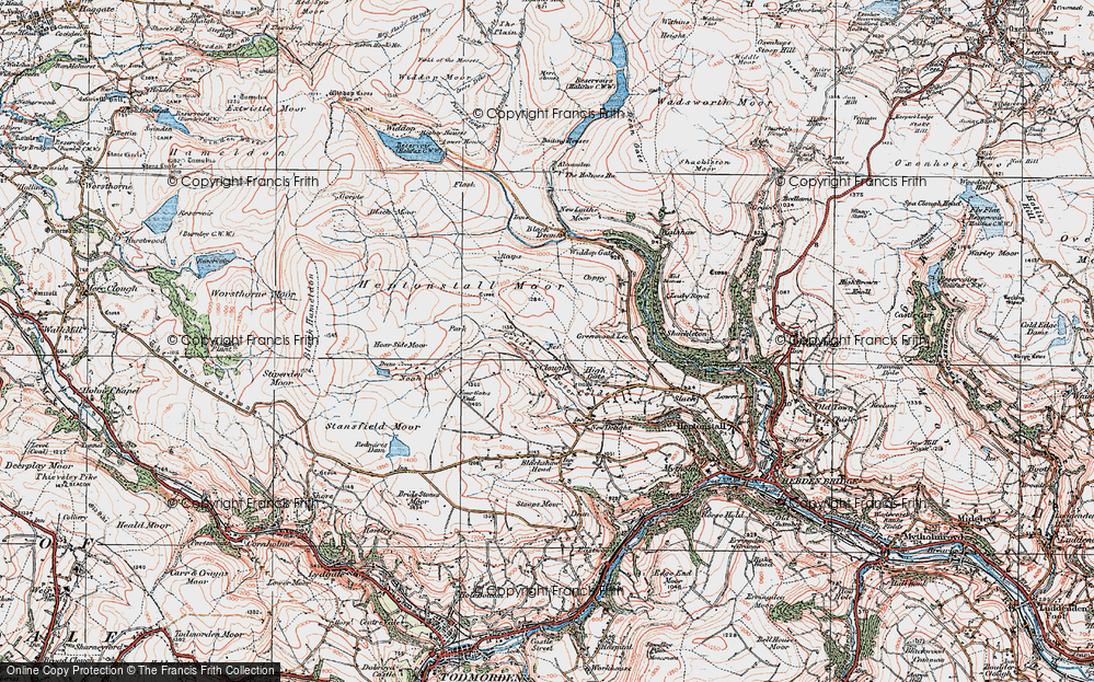 Old Map of Historic Map covering Alcomden Water in 1925