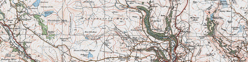 Old map of Widdop Gate in 1925