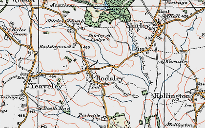 Old map of Rodsley in 1921