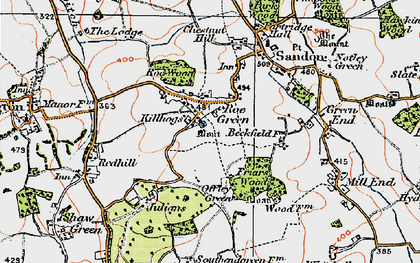 Old map of Roe Green in 1919