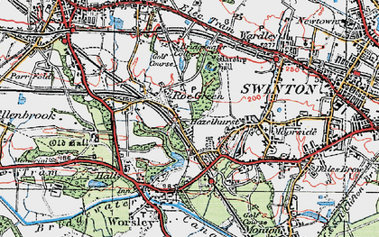 Old map of Roe Green in 1924