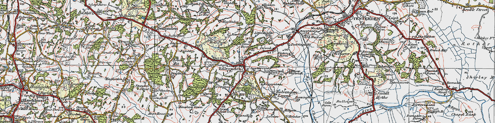 Old map of Rolvenden in 1921