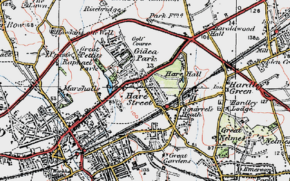 Old map of Romford in 1920