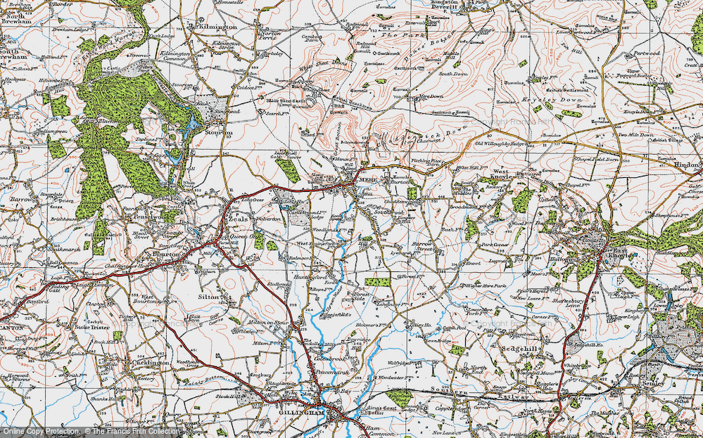 Old Map of Historic Map covering Woodlands Manor in 1919