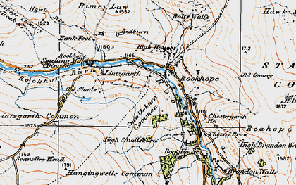 Old map of Rookhope in 1925