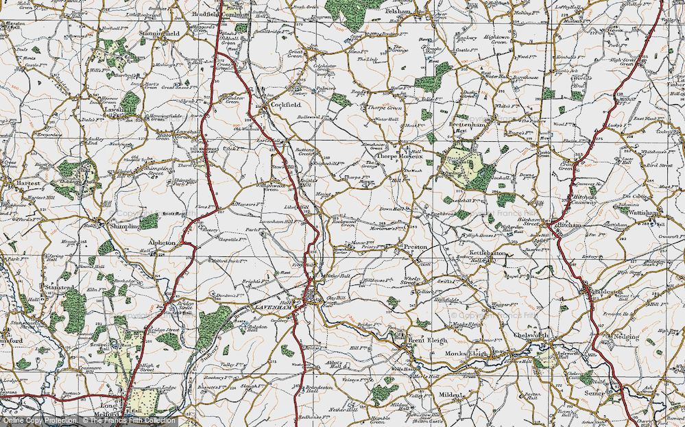 Old Map of Historic Map covering Likely Hill in 1921