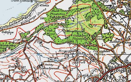 Old map of Roscroggan in 1919