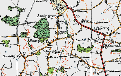 Old map of Assington Thicks in 1921