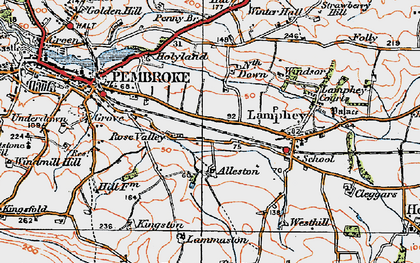 Old map of Alleston in 1922