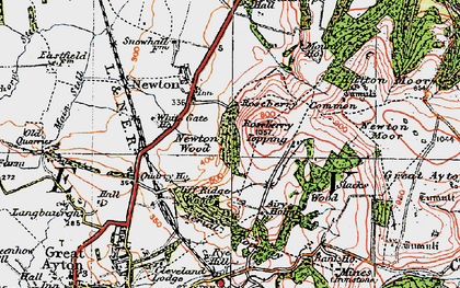 Old map of Roseberry Topping in 1925