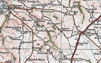 Old map of Rosecare in 1919