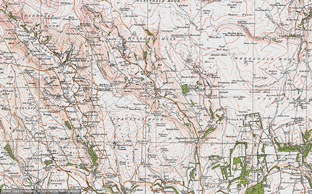 Old Map of Historic Map covering Bank Top in 1925