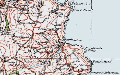 Old map of Roskorwell in 1919