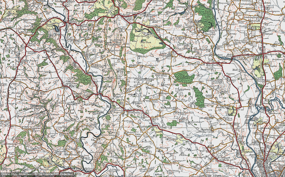 Old Map of Historic Map covering Laughern Brook in 1920