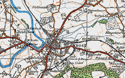 Old map of Ross-on-Wye in 1919