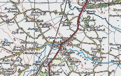 Old map of Rossett in 1924