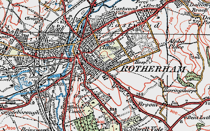 Old map of Rotherham in 1923