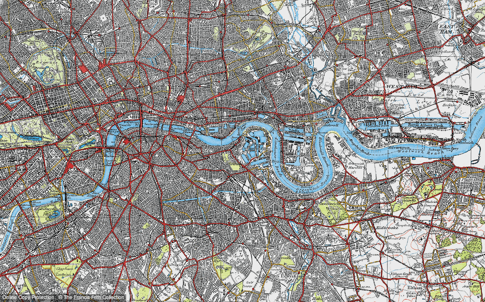 Old Map of Historic Map covering Limehouse Reach in 1920
