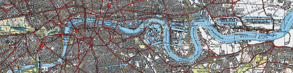 Old map of Limehouse Reach in 1920