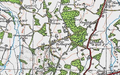 Old map of Rotherwick in 1919