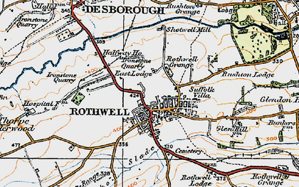 Old map of Rothwell in 1920
