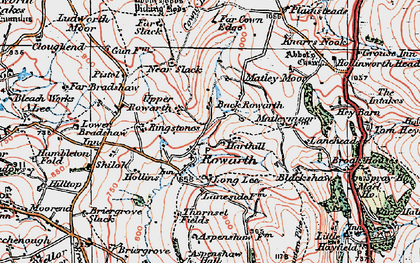 Old map of Rowarth in 1923