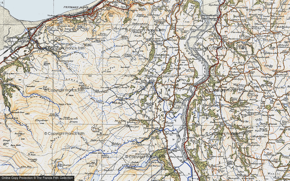 Old Map of Historic Map covering Afon Tafolog in 1922