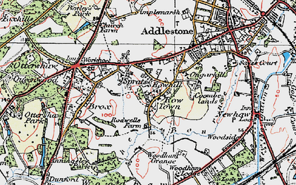 Old map of Rowhill in 1920