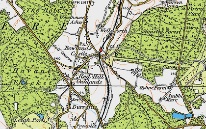 Old map of Rowlands Castle in 1919