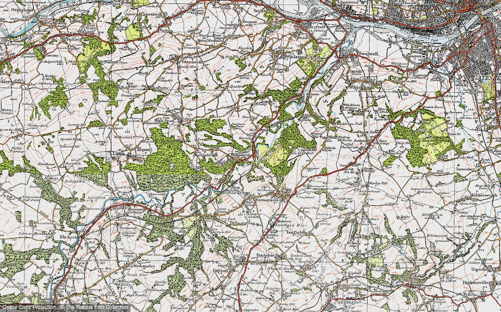 Old Map of Historic Map covering Leazes Hall in 1925