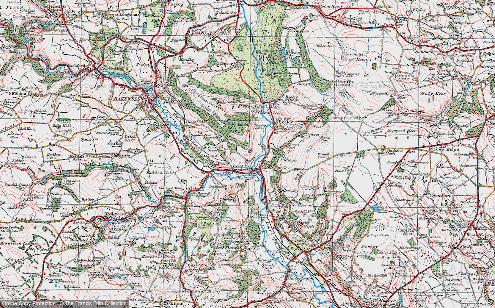 Old Map of Historic Map covering Lindop Wood in 1923