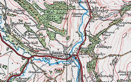 Old map of Haddon Hall in 1923