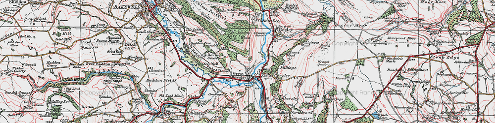 Old map of Rowsley in 1923