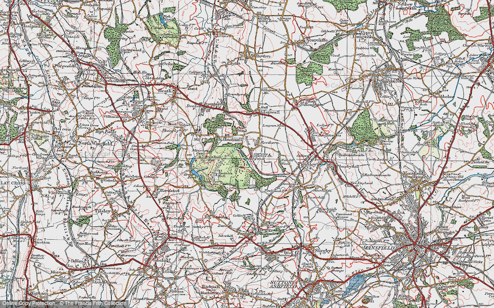 Old Map of Historic Map covering Hardwick Hall in 1923