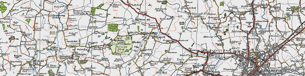 Old map of Roxwell in 1919
