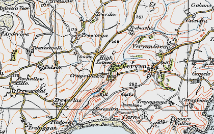 Old map of Ruan High Lanes in 1919