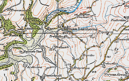 Old map of Ruan Lanihorne in 1919