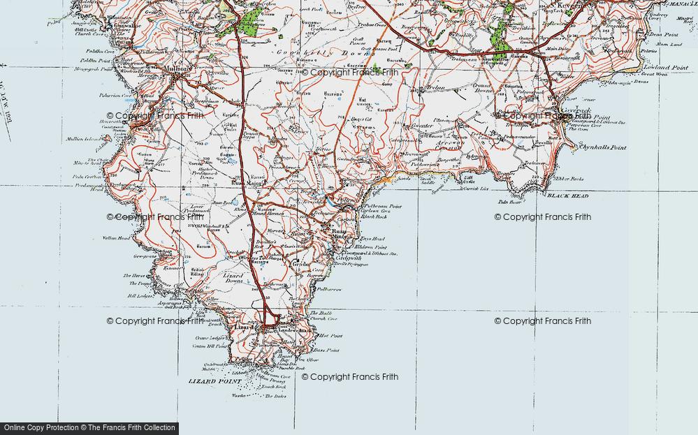 Old Map of Ruan Minor, 1919 in 1919