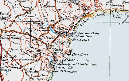 Old map of Ruan Minor in 1919