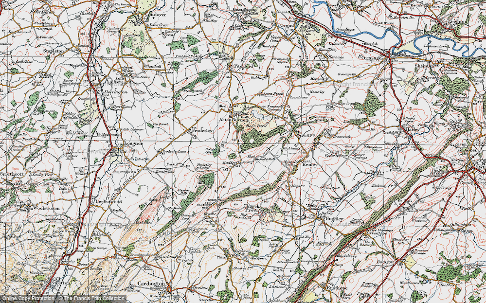 Old Map of Historic Map covering Langley Chapel in 1921