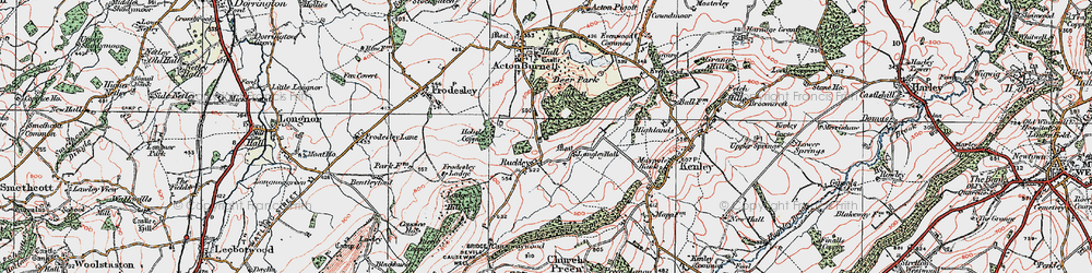 Old map of Langley Chapel in 1921