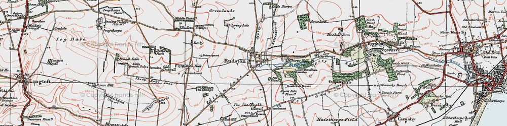 Old map of Rudston in 1924