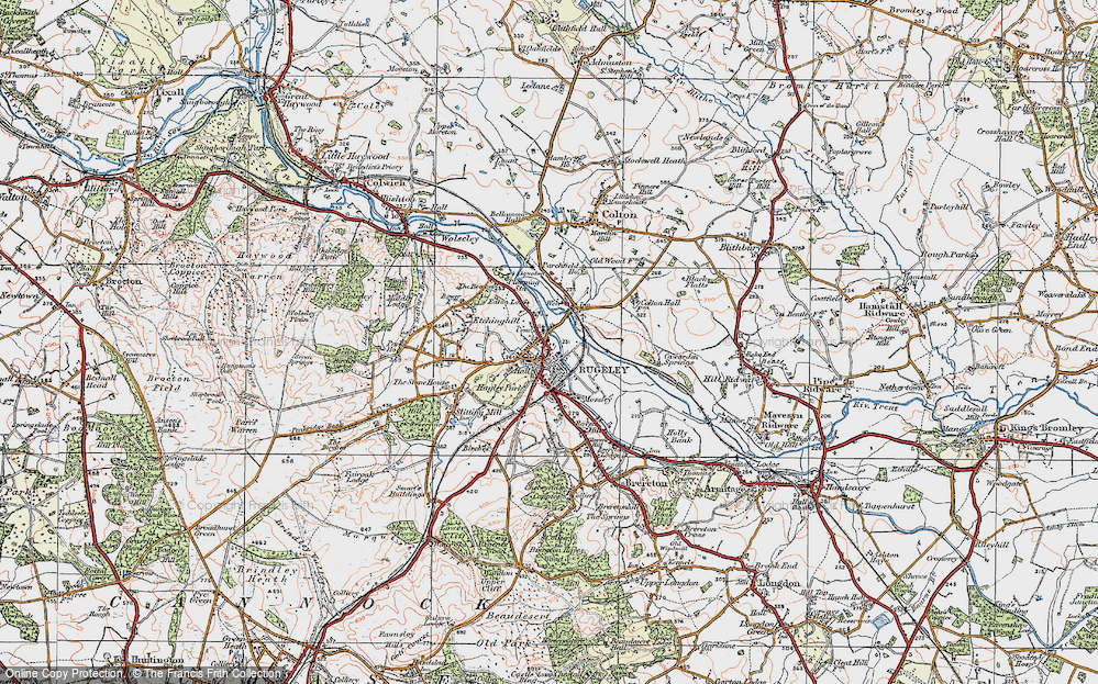 Old Map of Rugeley, 1921 in 1921