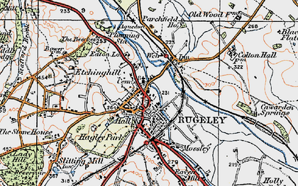 Old map of Rugeley in 1921