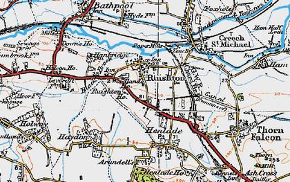 Old map of Ruishton in 1919