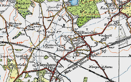 Old map of Ruislip in 1920
