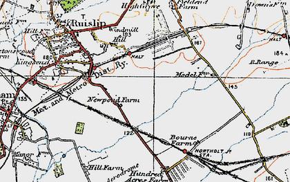 Old map of Ruislip Manor in 1920