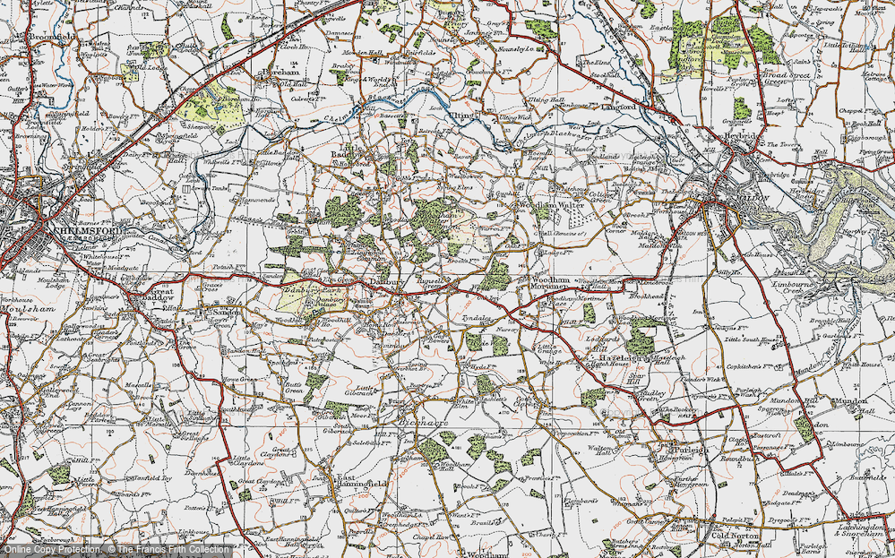 Old Map of Historic Map covering Woodham Walter Common in 1921