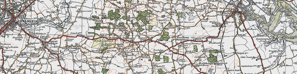 Old map of Woodham Walter Common in 1921