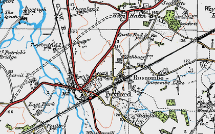 Old map of Ruscombe in 1919